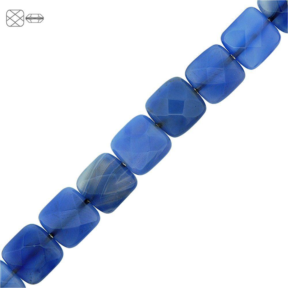 Fio de Pastilhas Quadradas Facetadas de Ágata Azul - 14mm - 40cm  - Nathalia Bijoux®