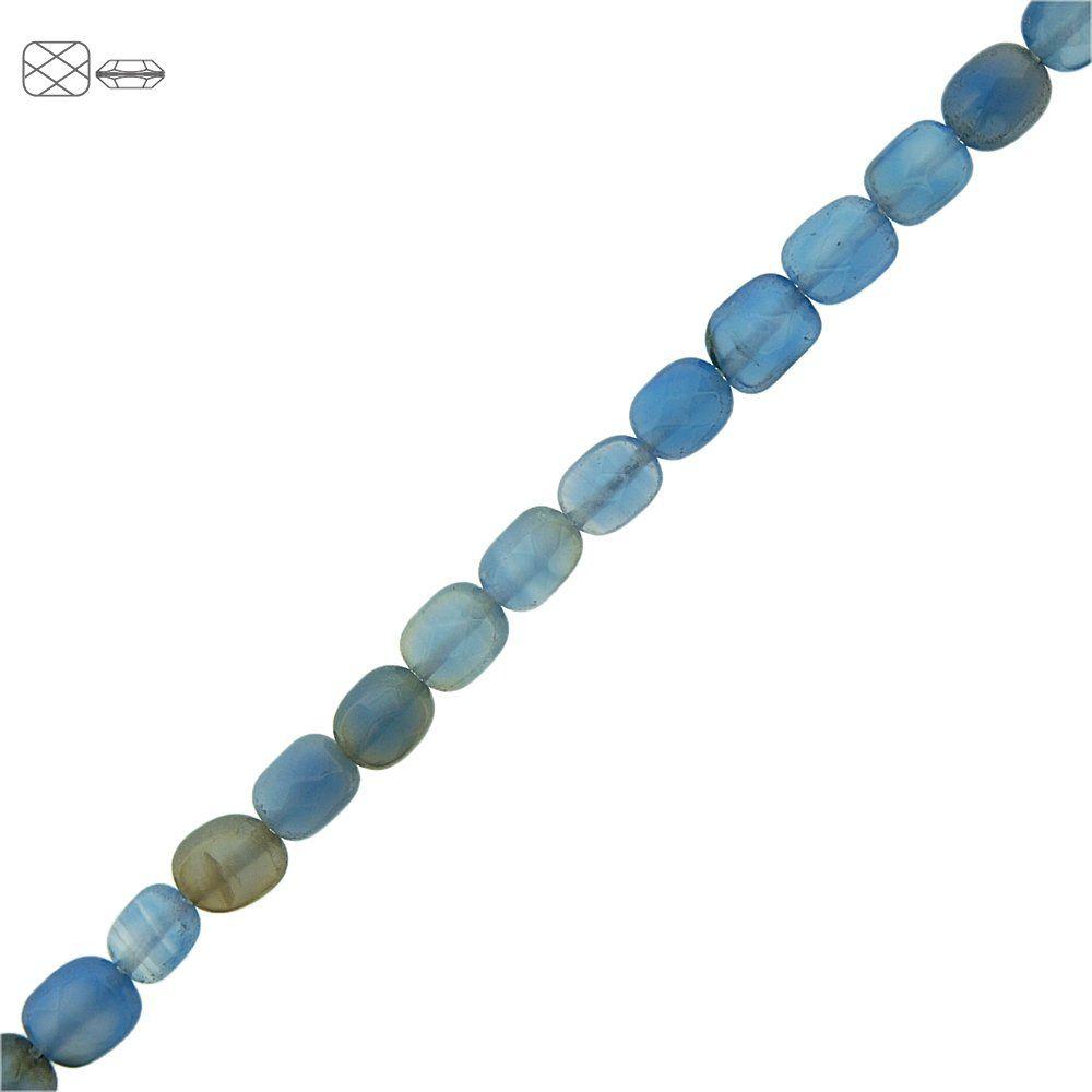 Fio de Pastilhas Retangulares Facetadas de Ágata Azul - 8mm - 40cm  - Nathalia Bijoux®