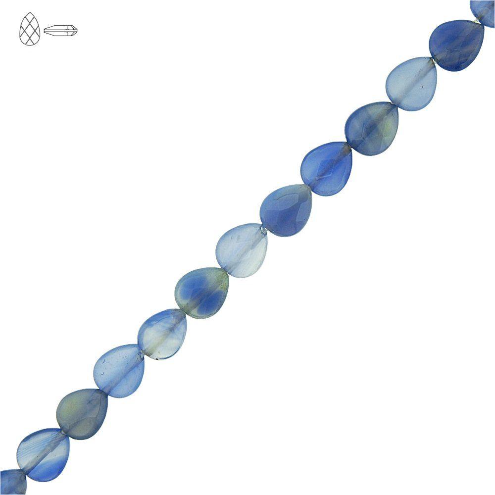 Fio de Gotas Facetadas de Ágata Azul - 10mm - 40cm  - Nathalia Bijoux®