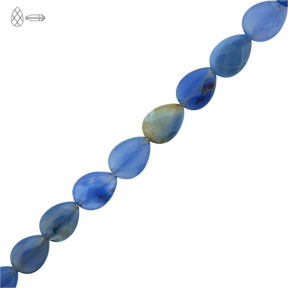 Fio de Gotas Facetadas de Ágata Azul - 14mm - 40cm  - Nathalia Bijoux®