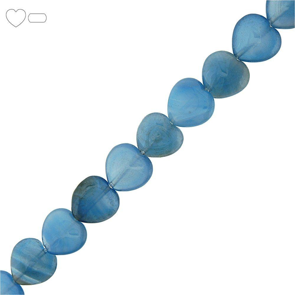Fio de Corações de Ágata Azul - 14mm - 40cm  - Nathalia Bijoux®