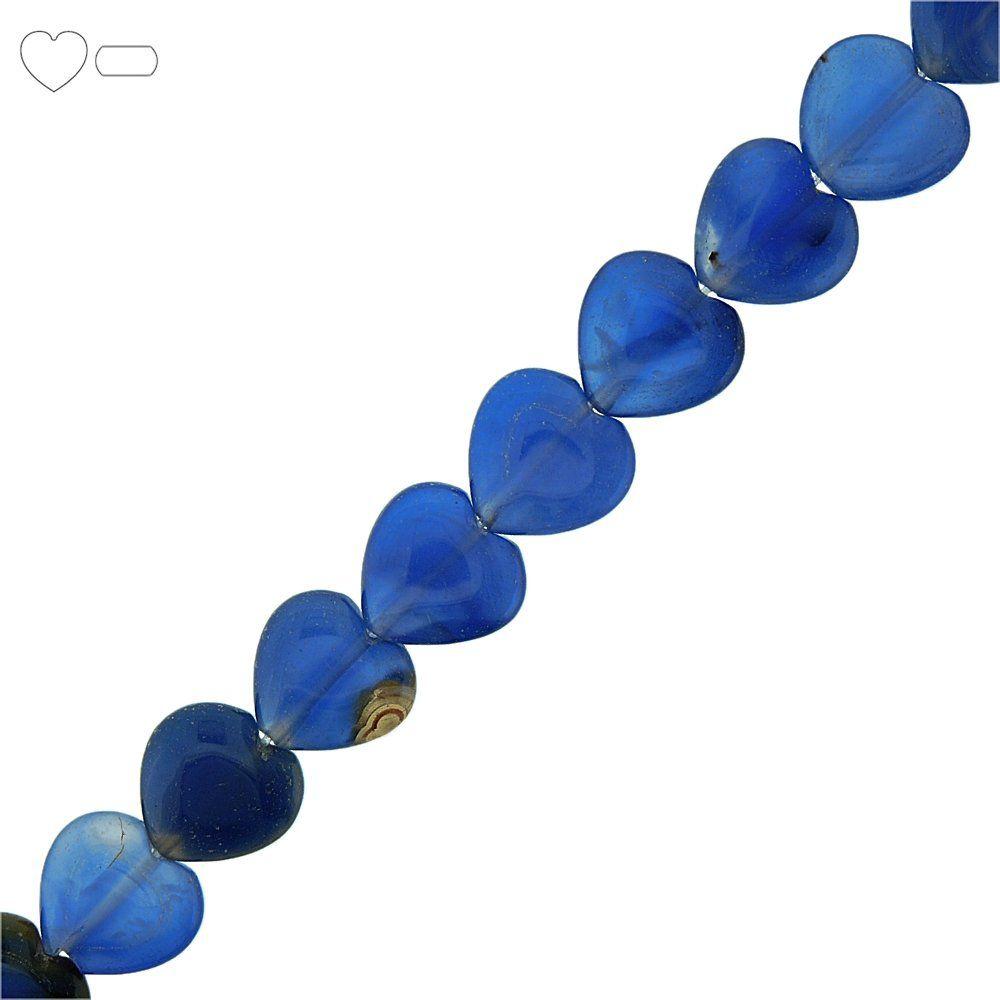 Fio de Corações de Ágata Azul - 15mm - 40cm  - Nathalia Bijoux®
