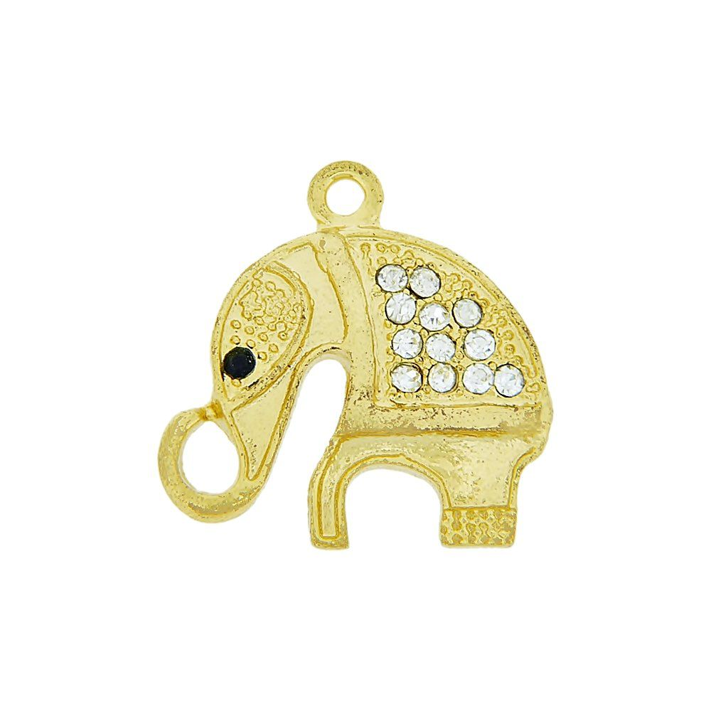 Pingente Elefante de Metal com Strass - 24mm  - Nathalia Bijoux®