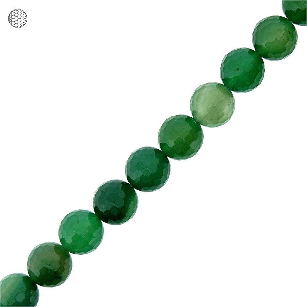 Fio de Bolinhas Facetadas de Ágata Verde - 12mm - 40cm  - Nathalia Bijoux®