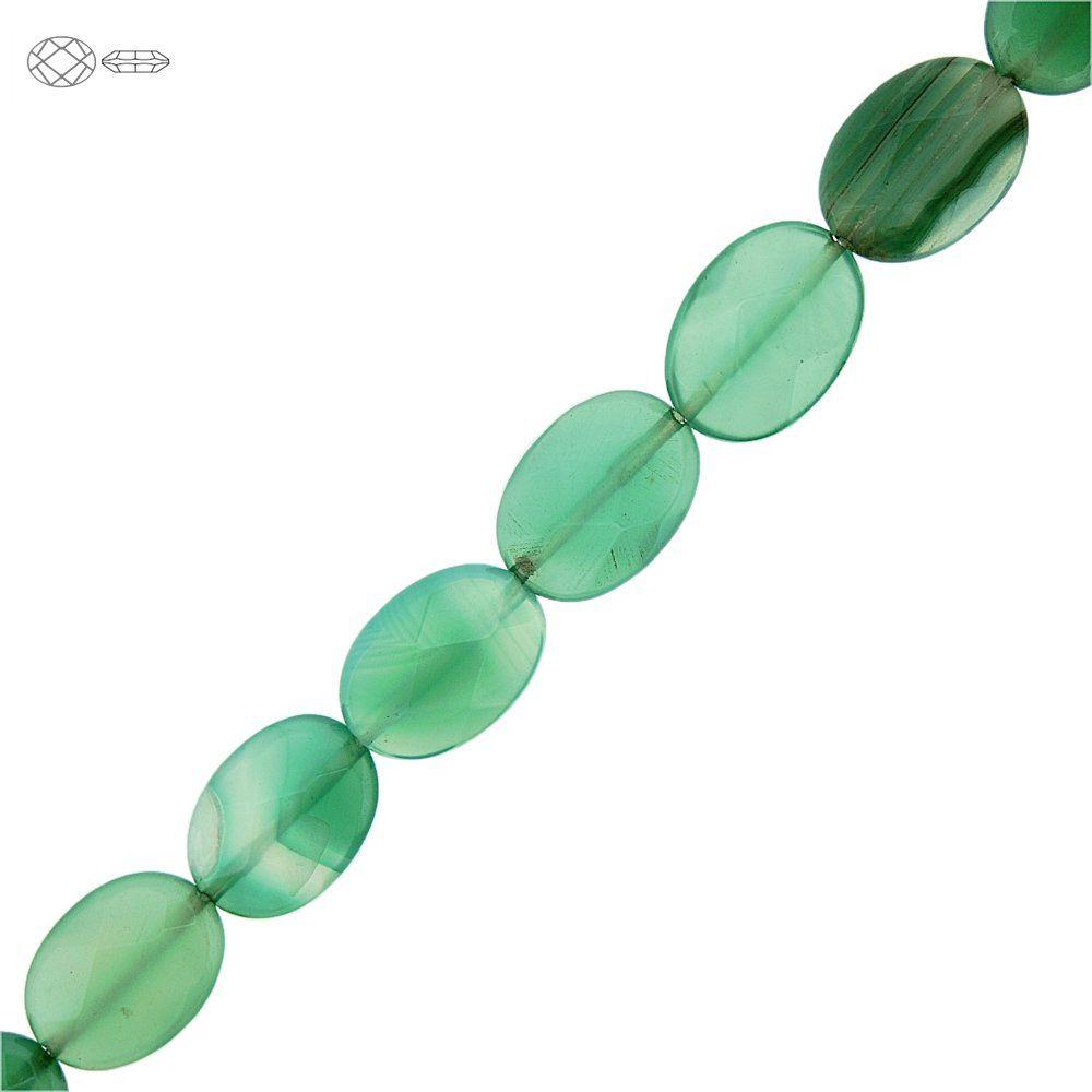 Fio de Pastilhas Ovais Facetadas de Ágata Verde - 18mm - 40cm  - Nathalia Bijoux®