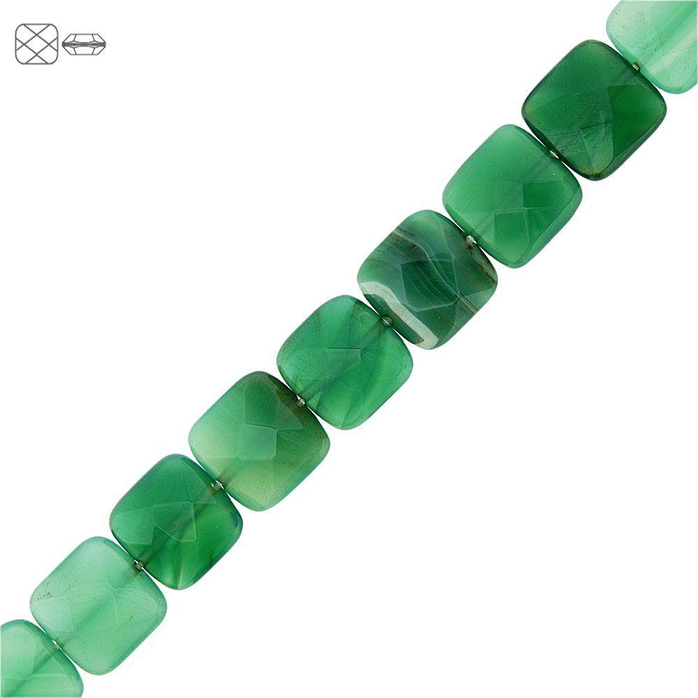 Fio de Pastilhas Quadradas Facetadas de Ágata Verde - 14mm - 40cm  - Nathalia Bijoux®