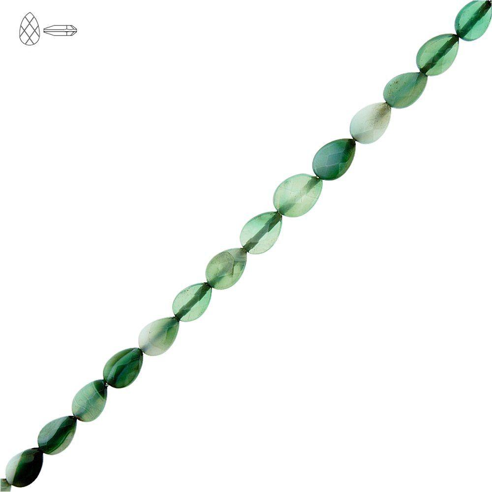 Fio de Gotas Facetadas de Ágata Verde - 9mm - 40cm  - Nathalia Bijoux®