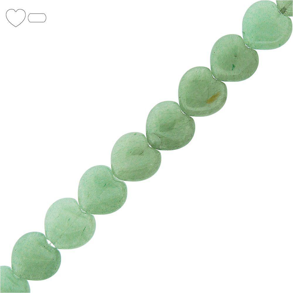 Fio de Corações de Quartzo Verde - 15mm - 40cm  - Nathalia Bijoux®