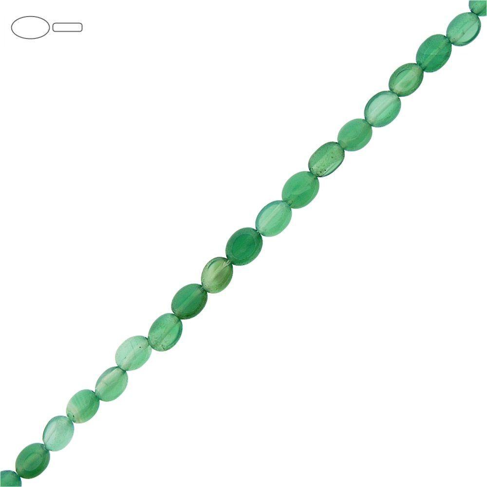 Fio de Pastilhas Ovais de Ágata Verde - 7mm - 40cm  - Nathalia Bijoux®