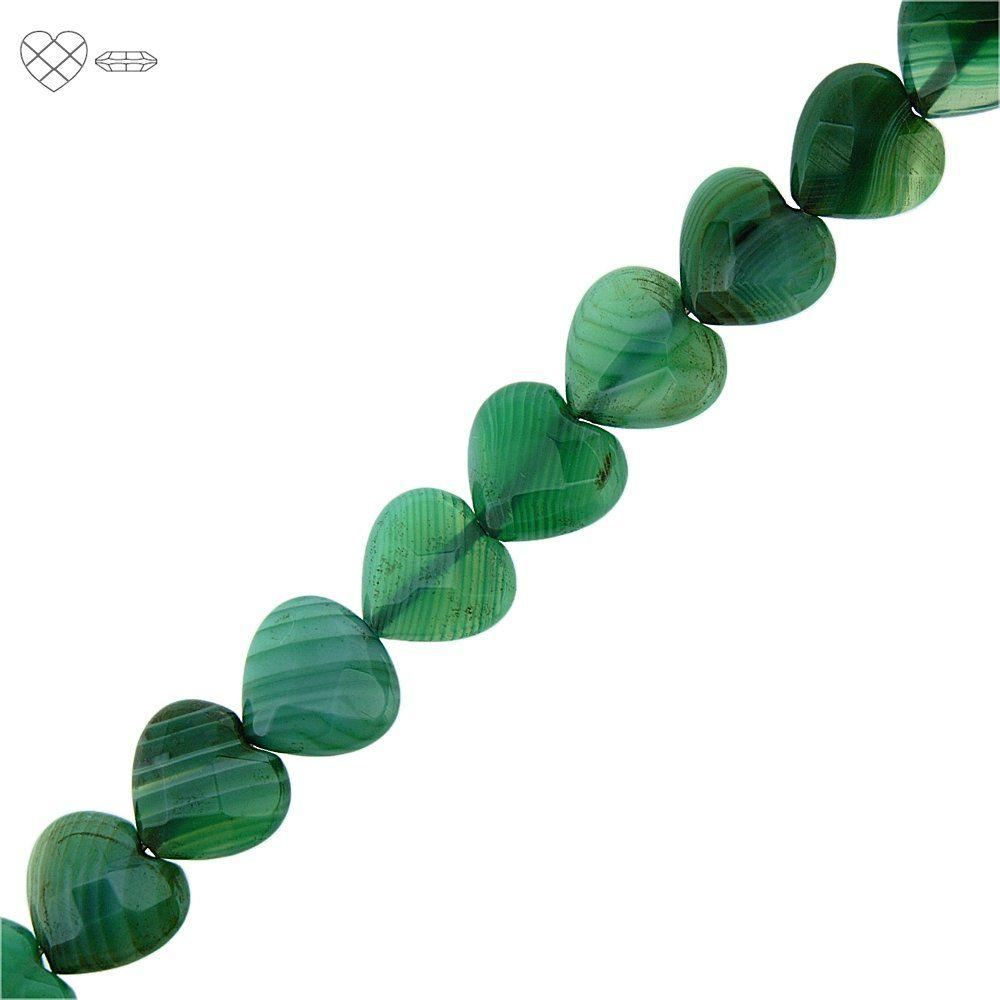 Fio de Corações Facetados de Ágata Verde - 14mm - 40cm  - Nathalia Bijoux®