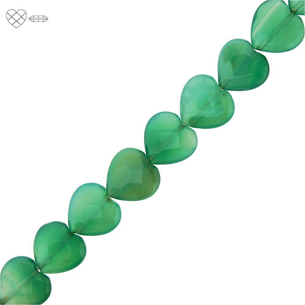 Fio de Corações Facetados de Ágata Verde - 16mm - 40cm  - Nathalia Bijoux®