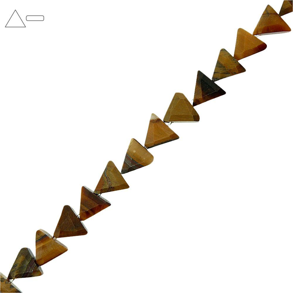 Fio de Pastilhas Triangulares de Olho de Tigre - 12mm - 40cm  - Nathalia Bijoux®