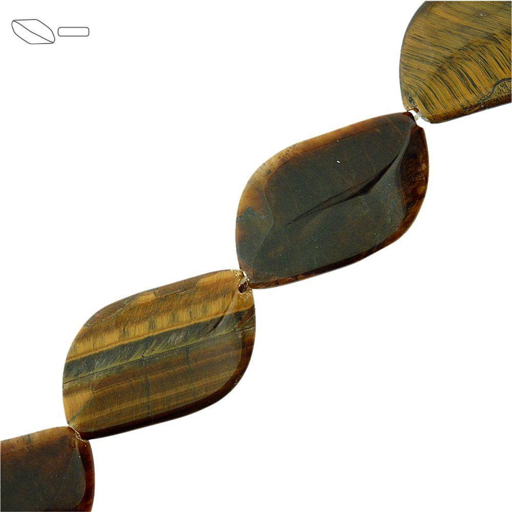 Fio de Pastilhas Folha de Olho de Tigre - 37mm - 40cm  - Nathalia Bijoux®