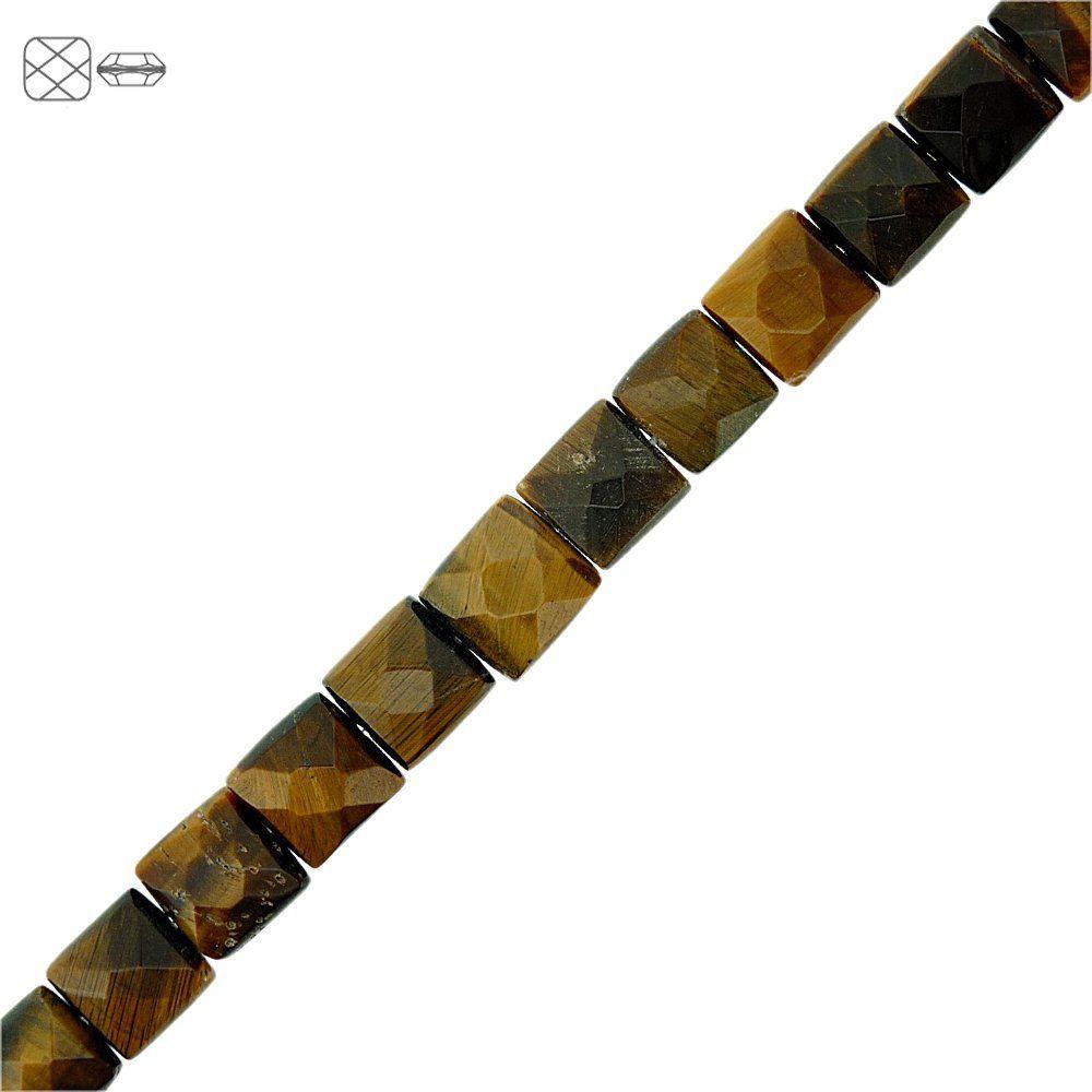 Fio de Pastilhas Quadradas Facetadas de Olho de Tigre - 10mm - 40cm  - Nathalia Bijoux®