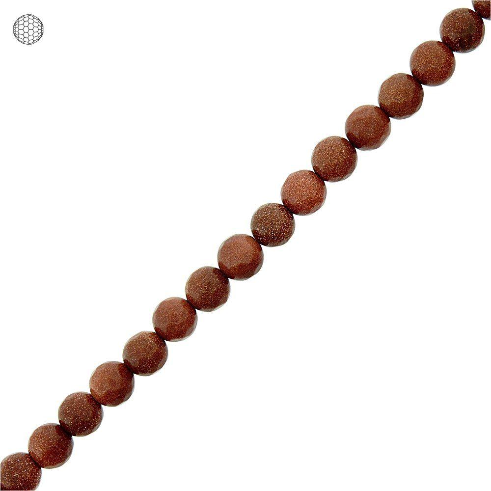 Fio de Bolinhas Facetadas de Pedra do Sol - 8mm - 40cm  - Nathalia Bijoux®