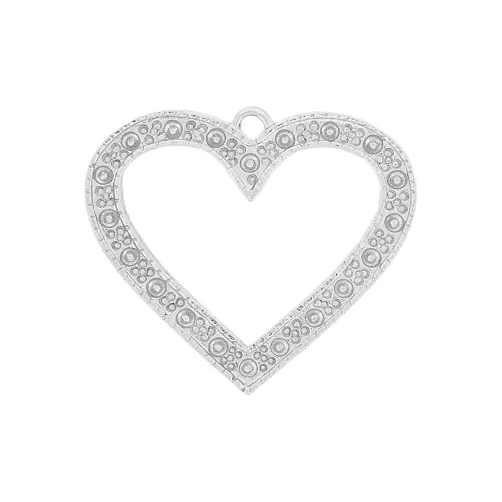 Pingente Coração de Metal - 36mm  - Nathalia Bijoux®