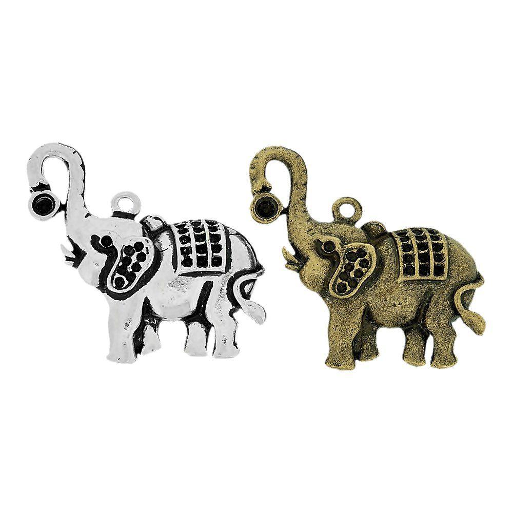 Pingente Elefante de Metal - 43mm  - Nathalia Bijoux®