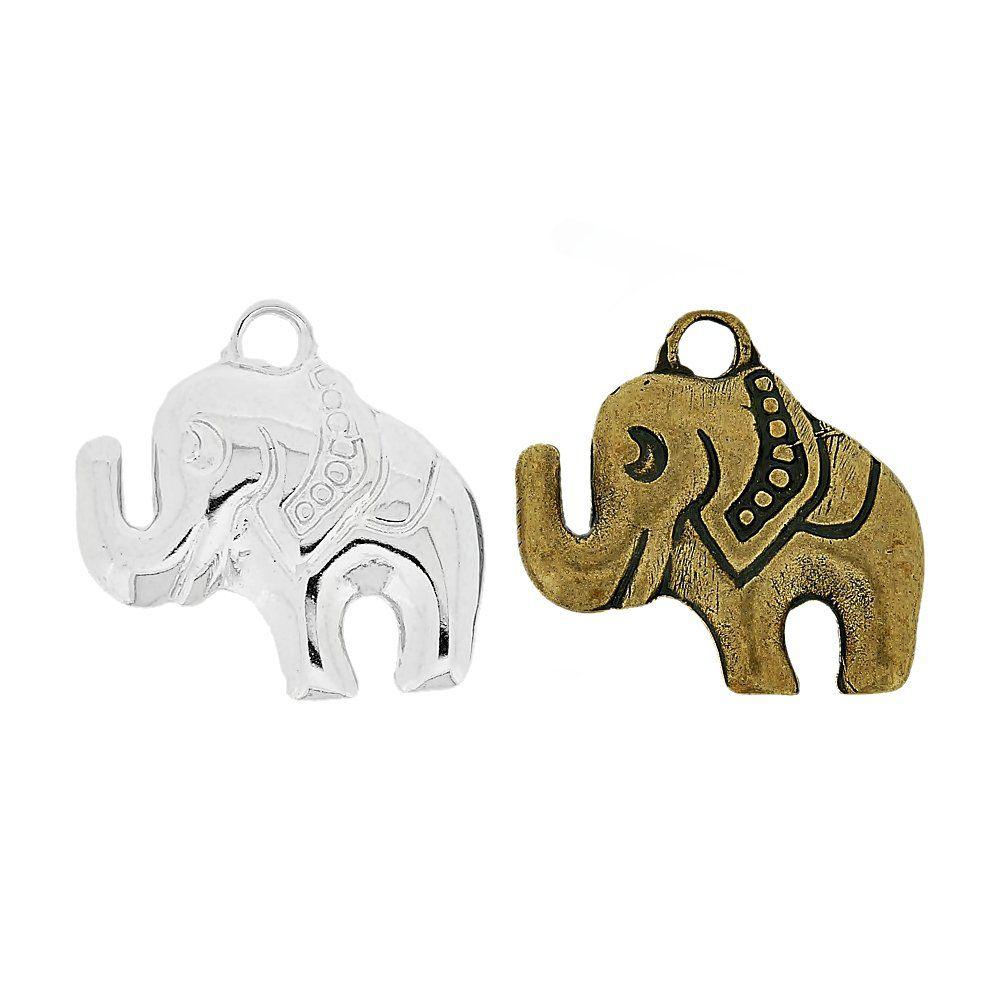 Pingente Elefante de Metal - 30mm  - Nathalia Bijoux®