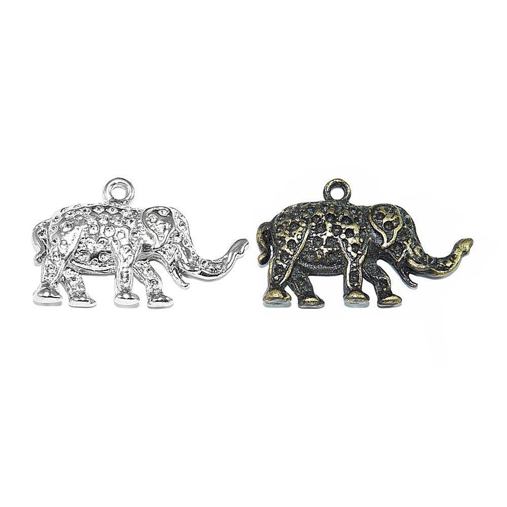 Pingente Elefante de Metal - 22mm  - Nathalia Bijoux®
