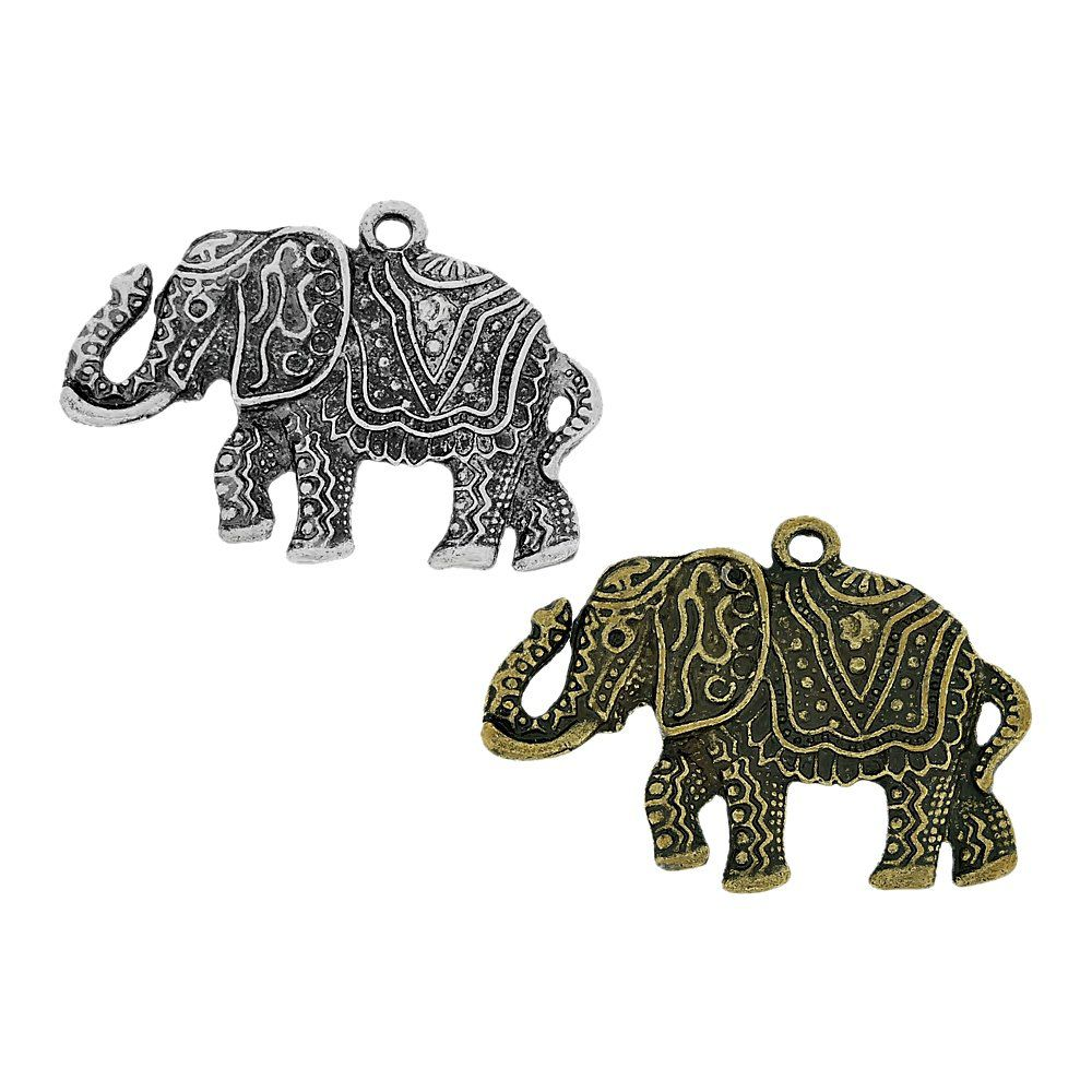 Pingente Elefante de Metal - 40mm  - Nathalia Bijoux®