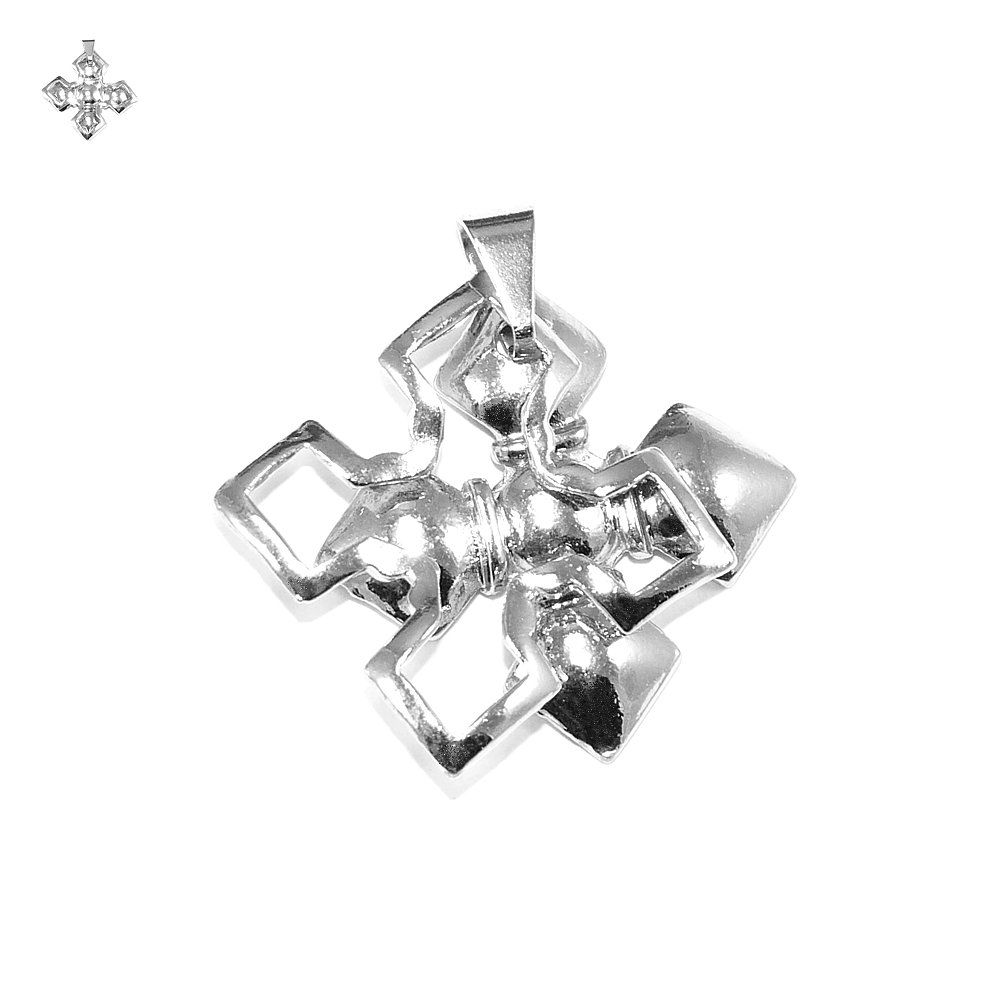 Pingente Duplo Cruz de Metal - 32mm  - Nathalia Bijoux®