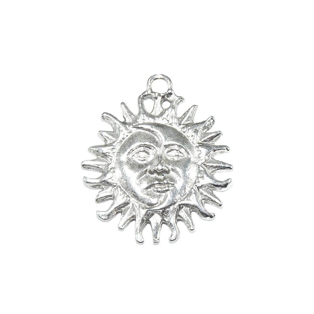 Pingente Sol e Lua de Metal - 38mm  - Nathalia Bijoux®