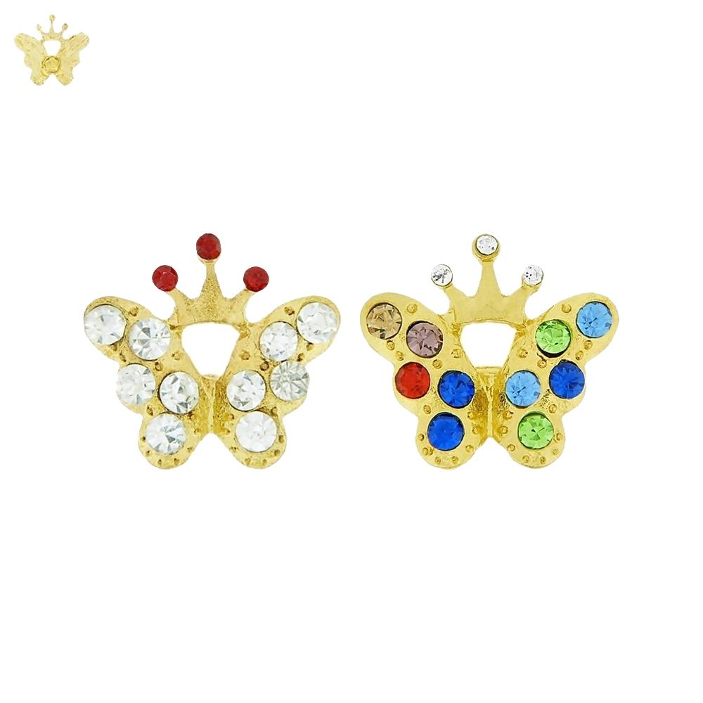 Piercing Borboleta com Coroa para Chinelo com Strass - 20mm  - Nathalia Bijoux®