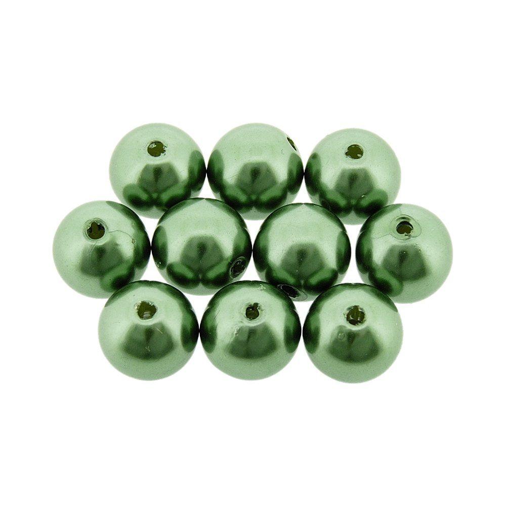 Pérola de ABS - Verde Militar - 10mm - 25g  - Nathalia Bijoux®