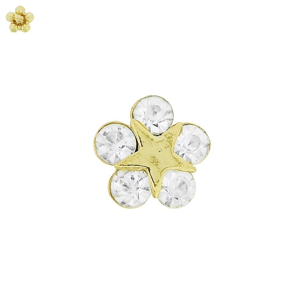 Piercing Flor com Estrela para Chinelo com Strass - 13mm  - Nathalia Bijoux®