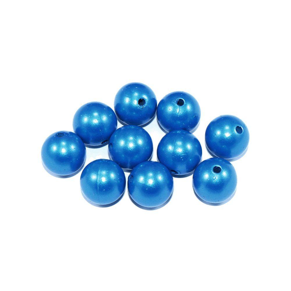 Pérola de Plástico - Azul Turquesa - 14mm - 30pçs  - Nathalia Bijoux®