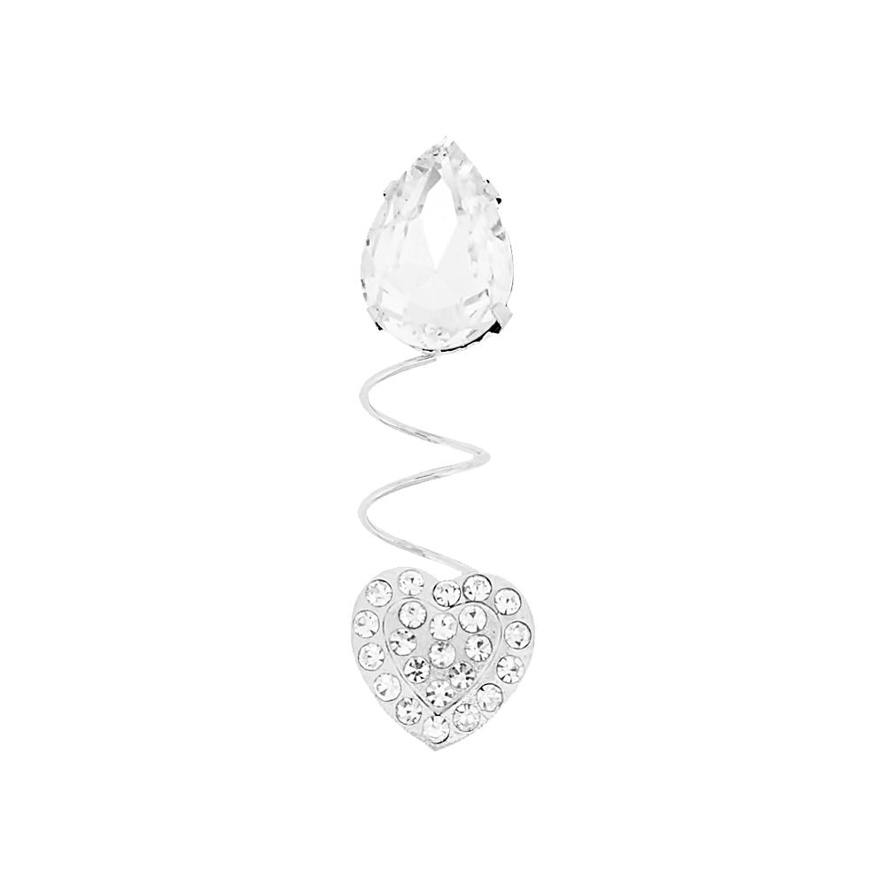 Piercing Espiral Gota e Coração para Chinelo com Strass - 52mm  - Nathalia Bijoux®