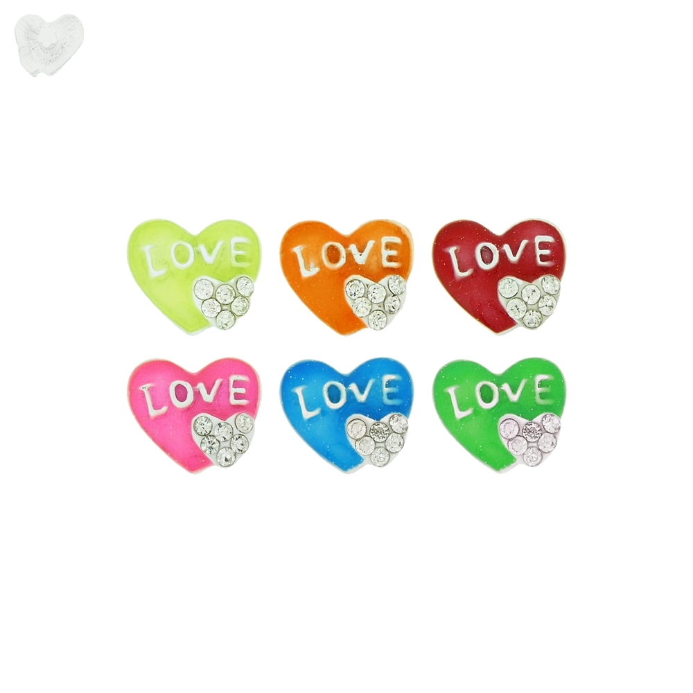 Piercing Coração Love para Chinelo com Strass - 12mm  - Nathalia Bijoux®