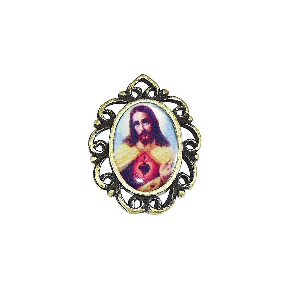 Pingente Sagrado Coração de Jesus de Metal - 28mm  - Nathalia Bijoux®