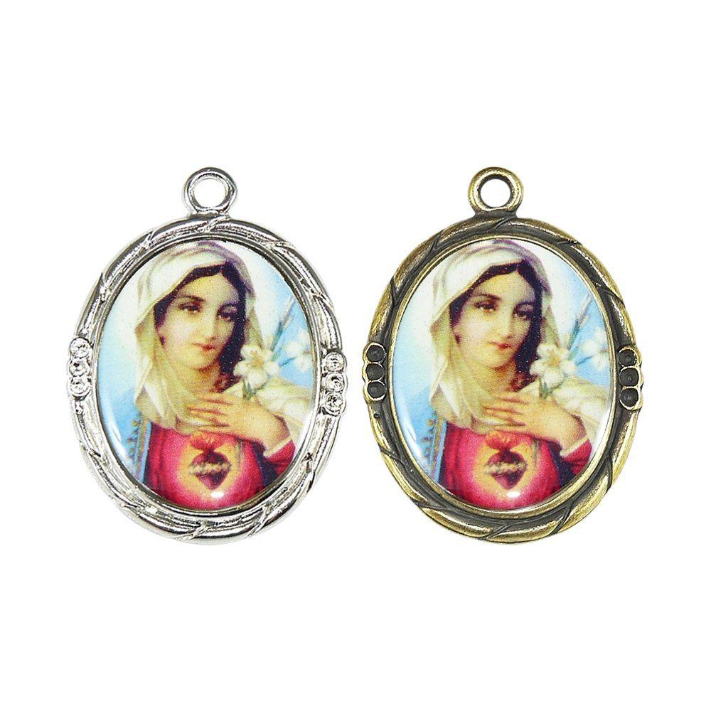 Pingente Sagrado Coração de Maria de Metal - 42mm  - Nathalia Bijoux®
