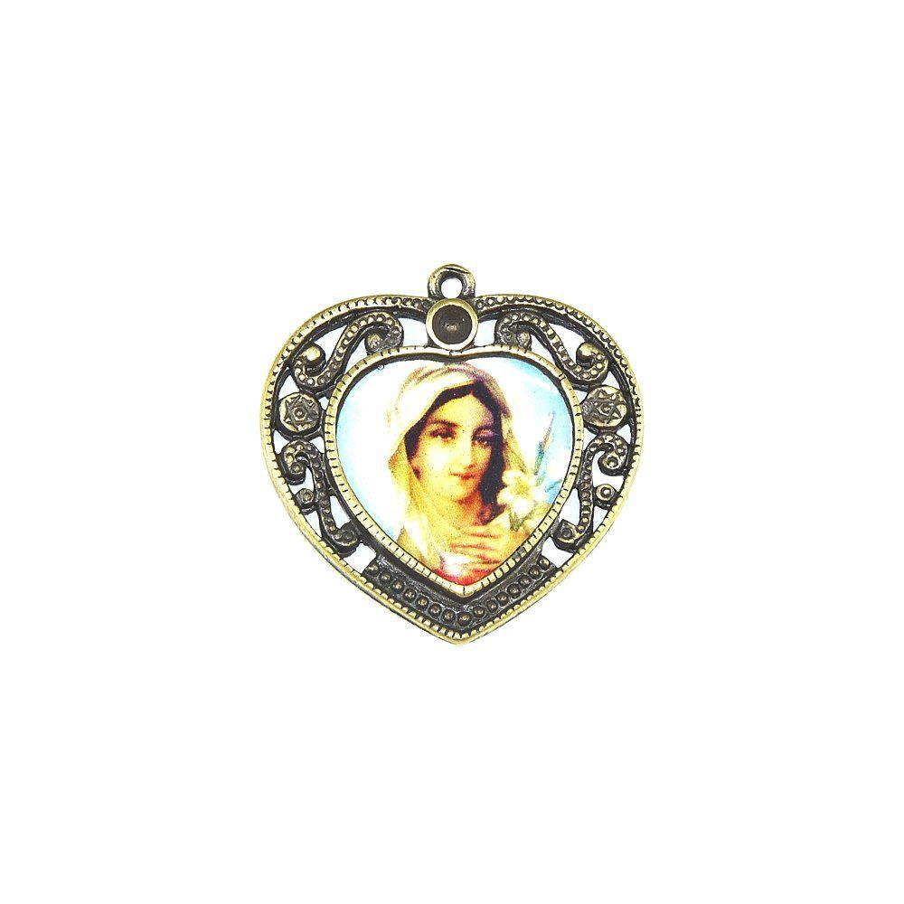 Pingente Sagrado Coração de Maria de Metal - 36mm  - Nathalia Bijoux®