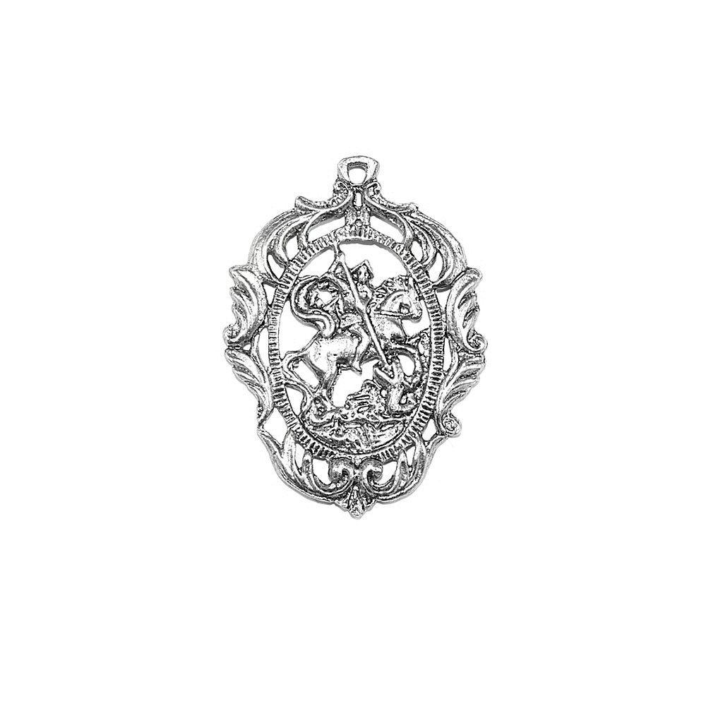 Pingente São Jorge de Metal - 45mm  - Nathalia Bijoux®