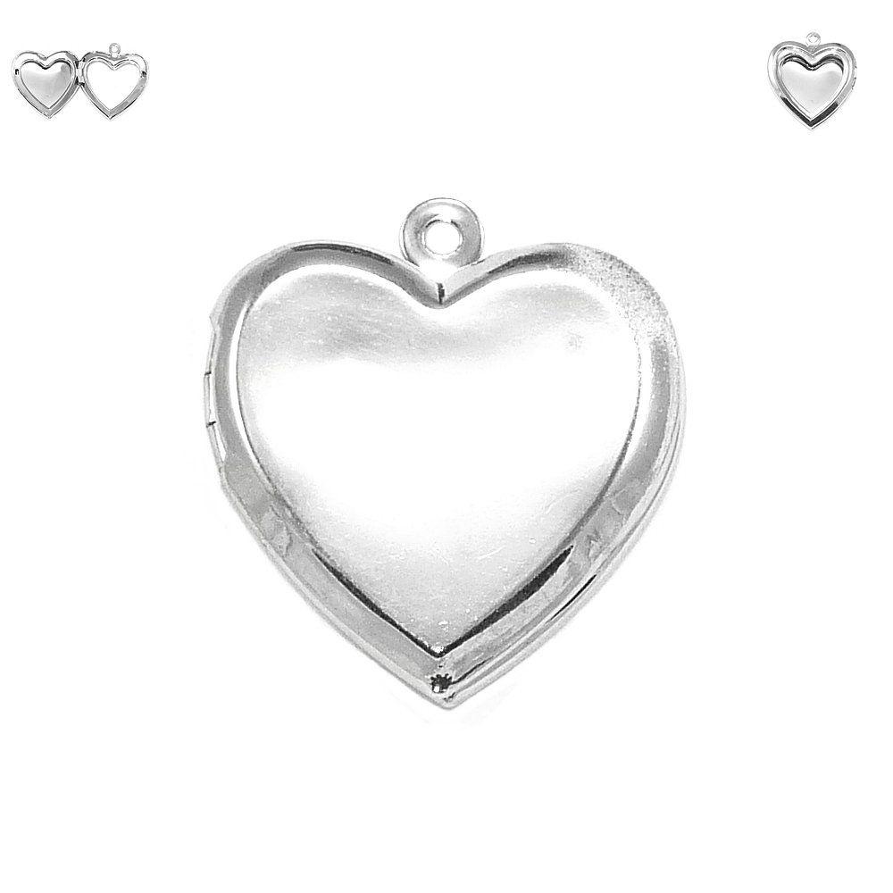 Pingente Relicário Coração de Metal - 26mm  - Nathalia Bijoux®