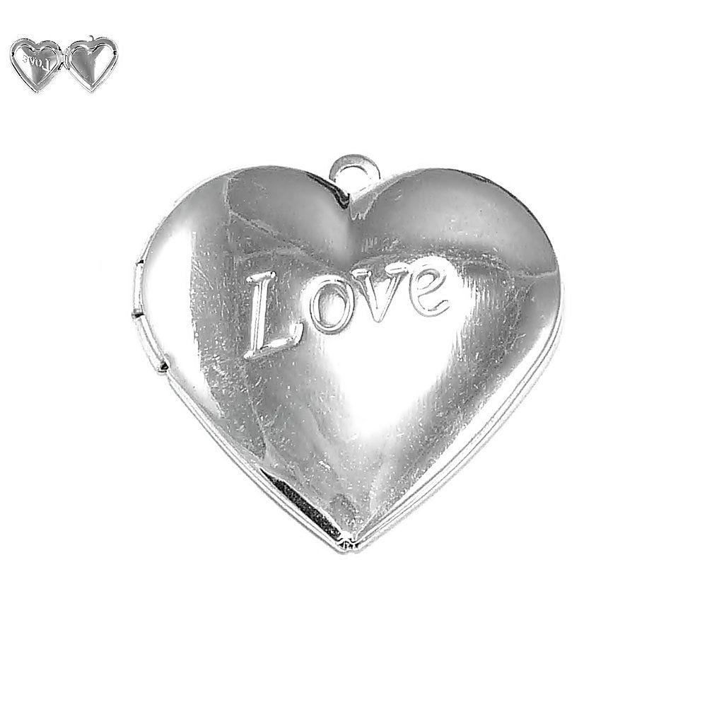 Pingente Relicário Coração de Metal - 30mm  - Nathalia Bijoux®