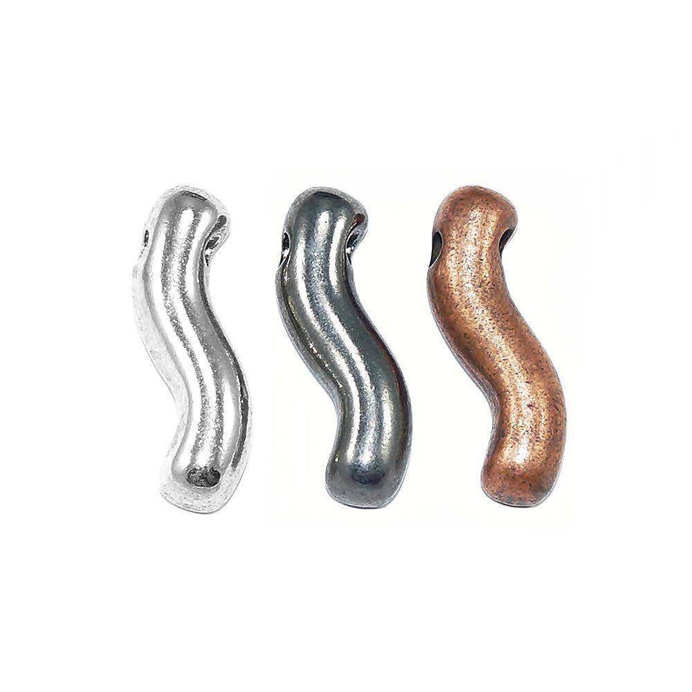 Pingente Ondulado de Metal - 31mm  - Nathalia Bijoux®