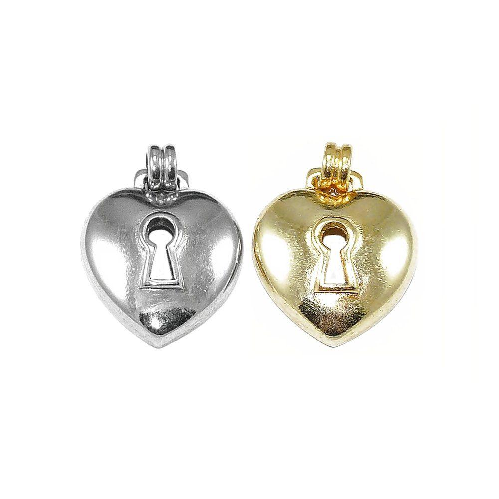 Pingente Coração Cadeado de Metal - 26mm  - Nathalia Bijoux®