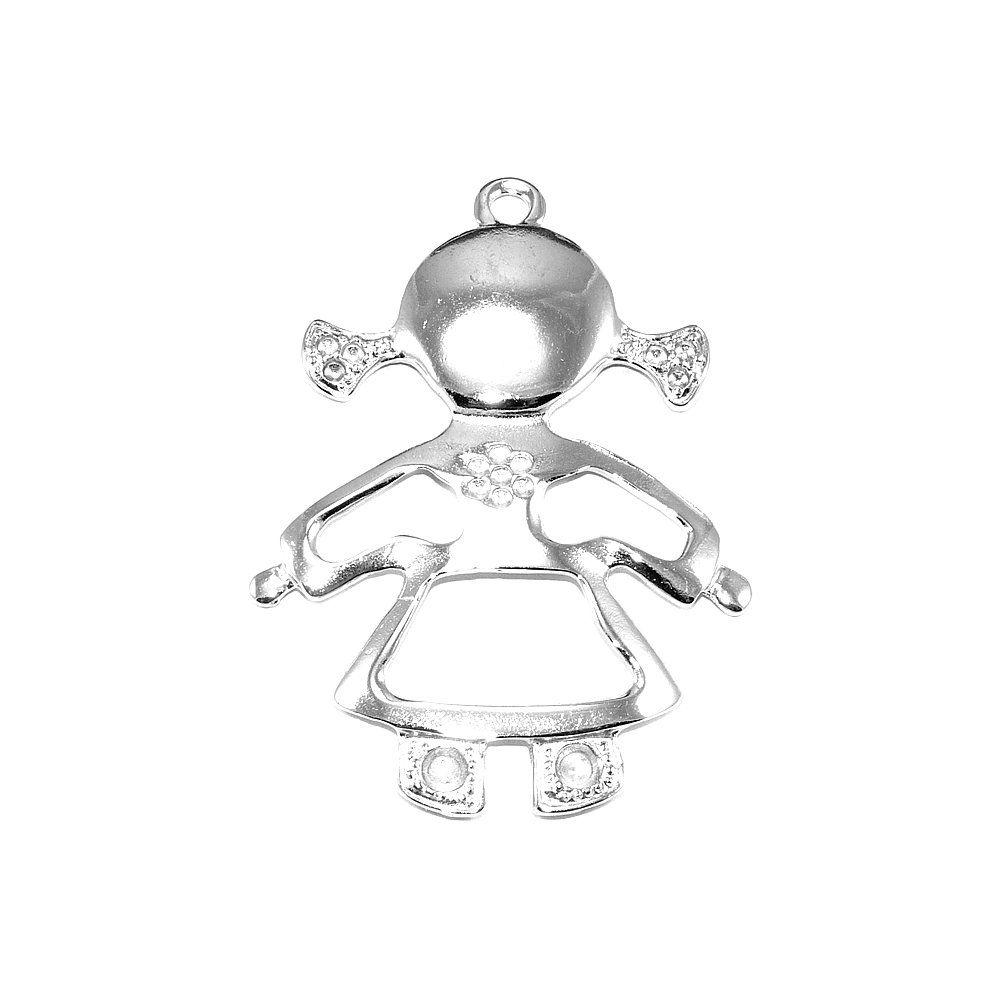Pingente Menina de Metal - 60mm  - Nathalia Bijoux®