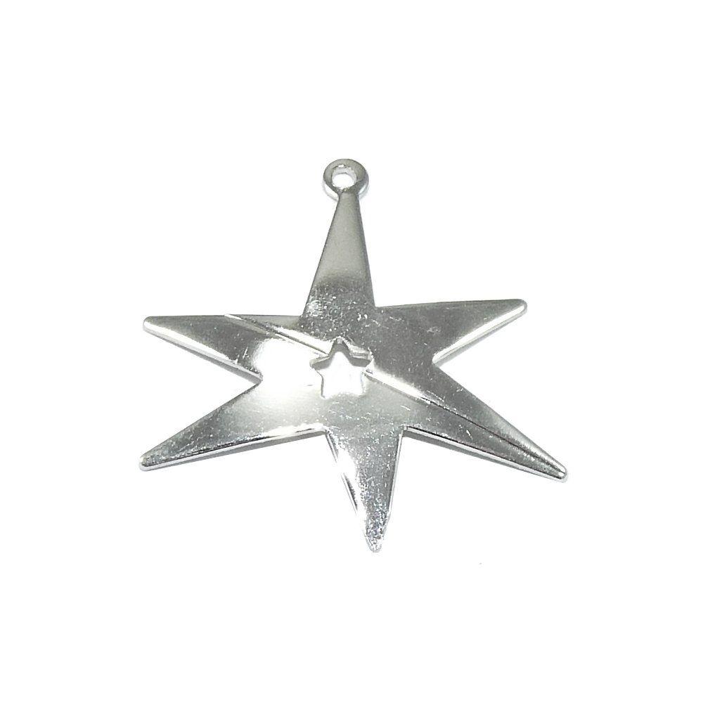 Pingente Estrela de Metal - 23mm  - Nathalia Bijoux®