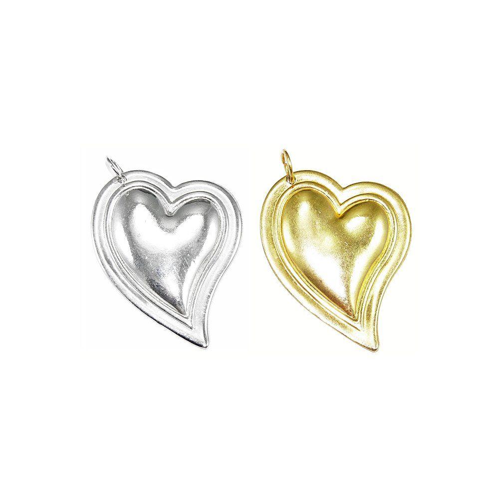 Pingente Coração de Metal - 45mm  - Nathalia Bijoux®