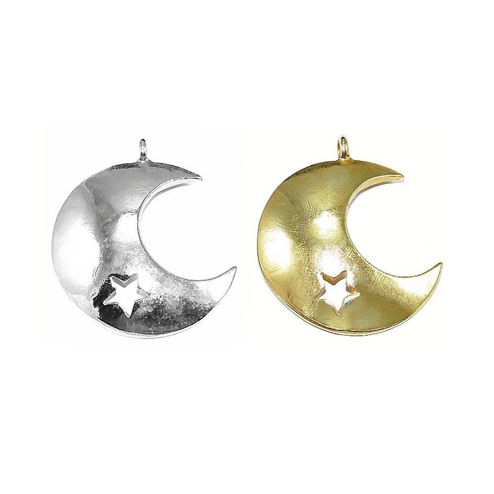 Pingente Lua com Estrela de Metal - 43mm  - Nathalia Bijoux®