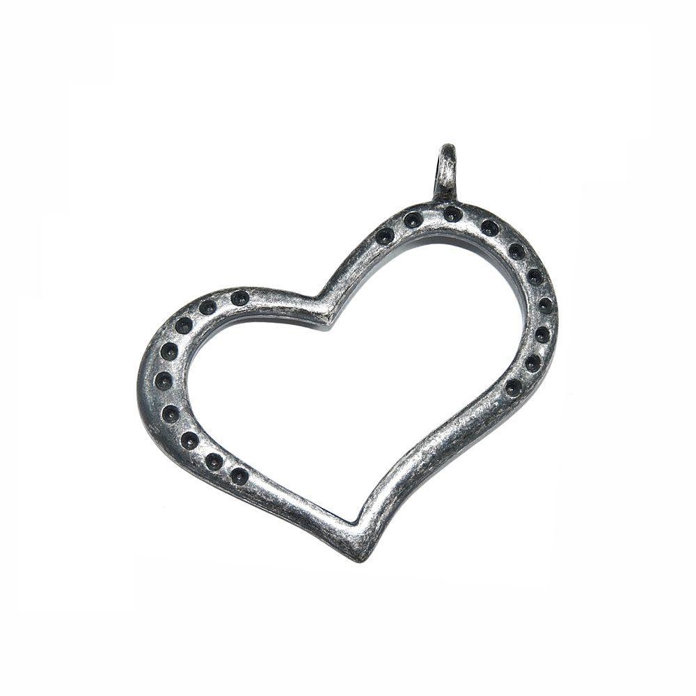 Pingente Coração de Metal - 46mm  - Nathalia Bijoux®