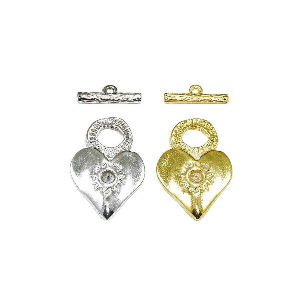 Pingente Coração com T de Metal - 33mm  - Nathalia Bijoux®
