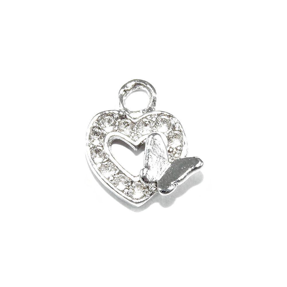 Pingente Coração com Borboleta de Metal - 13mm  - Nathalia Bijoux®