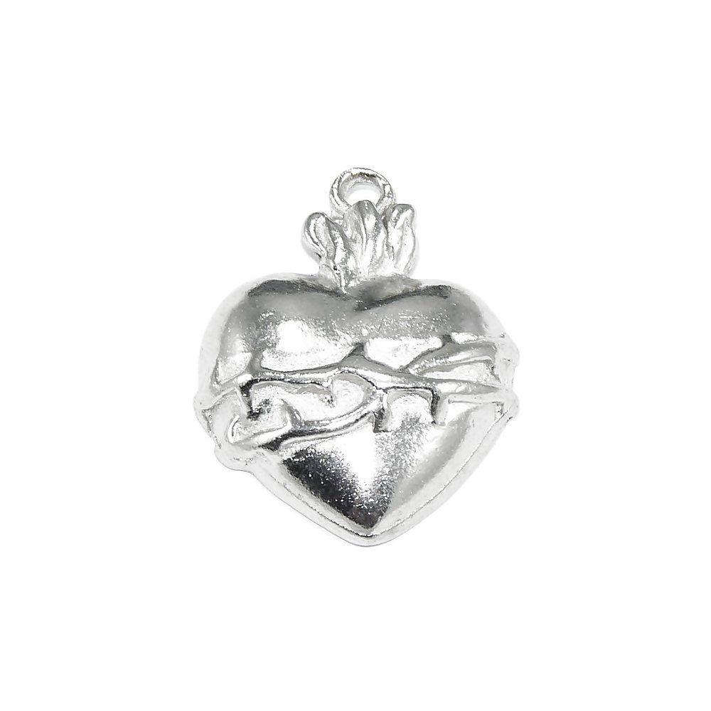 Pingente Sagrado Coração de Metal - 28mm  - Nathalia Bijoux®