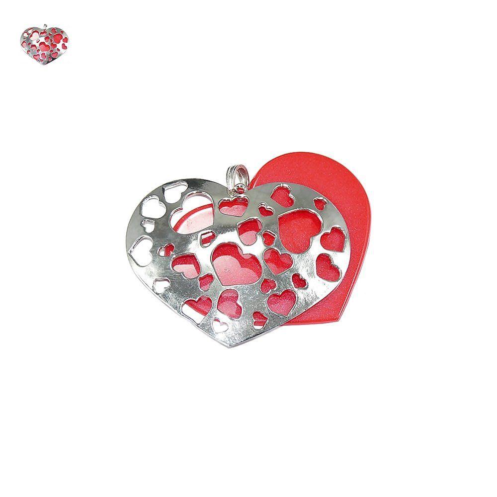 Pingente Coração Duplo de Metal e Resina - 63mm  - Nathalia Bijoux®