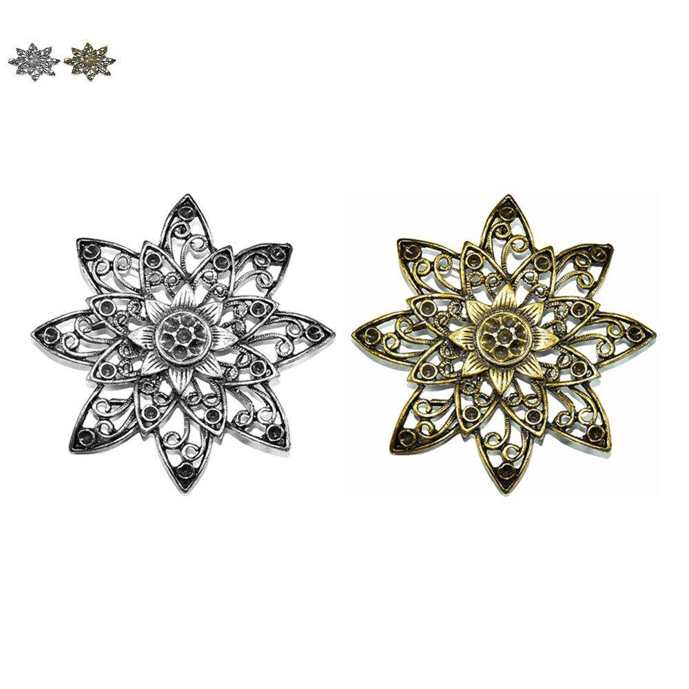Pingente Flor de Metal - 66mm  - Nathalia Bijoux®